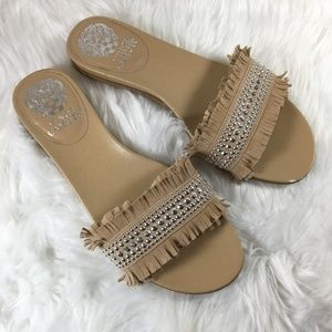 Vince Camuto Ettina Fringed Leather Studded Slides